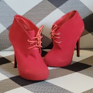 Traffic Lace Up Stiletto Red Suede Ankle Booties